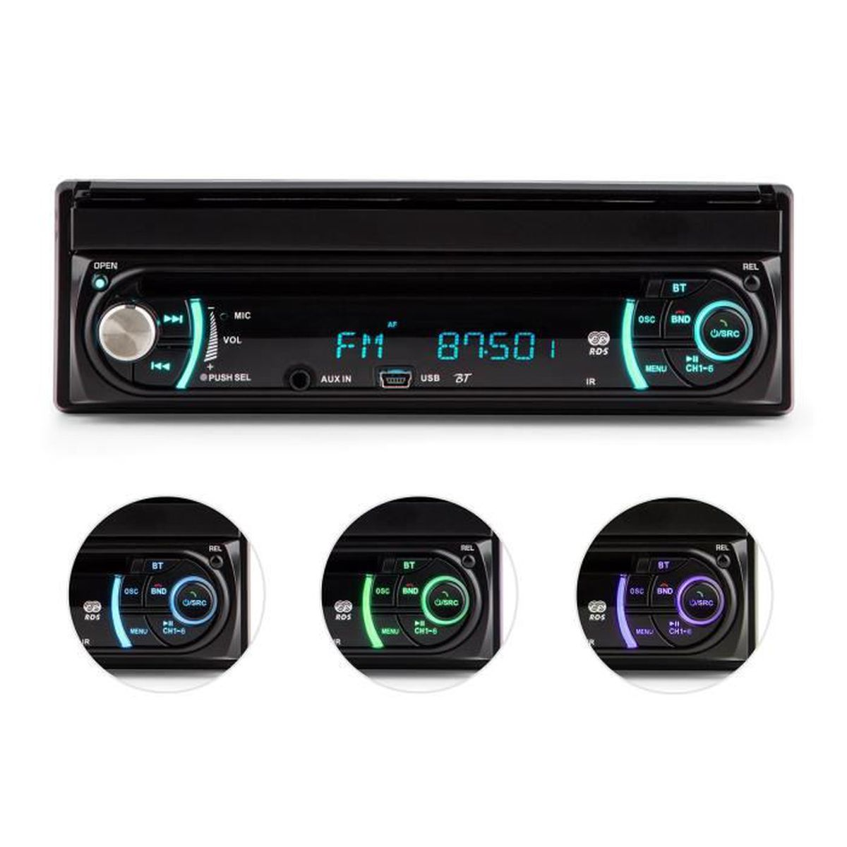 auna mvd 330 autoradio multimedia ecran retractable 18cm bluetooth lecteur cd port usb et. Black Bedroom Furniture Sets. Home Design Ideas