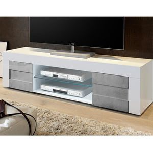 MEUBLE TV Meuble TV blanc laqué brillant et effet béton BROO