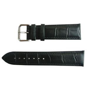 BRACELET DE MONTRE Bracelet Montre Cuir Noir Boucle Ardillon 20mm