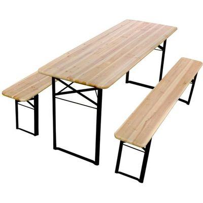 Table et bancs pliants bois 220cm