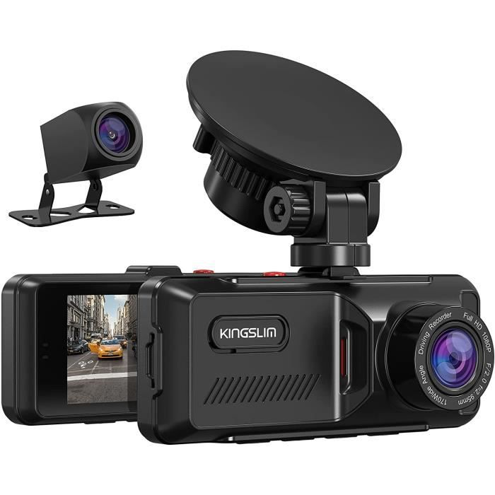KINGSLIM D1 Caméra Voiture Dashcam Voiture avec GPS 1080P Avant et Arrière 170°Grand Angle Capteur-G Surveillance 24 Heures Noir