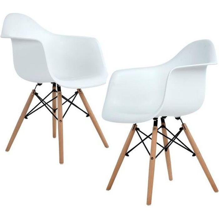 Lot de 2 Chaises de Salle à Manger avec Fauteuil design scandinave-Blanches