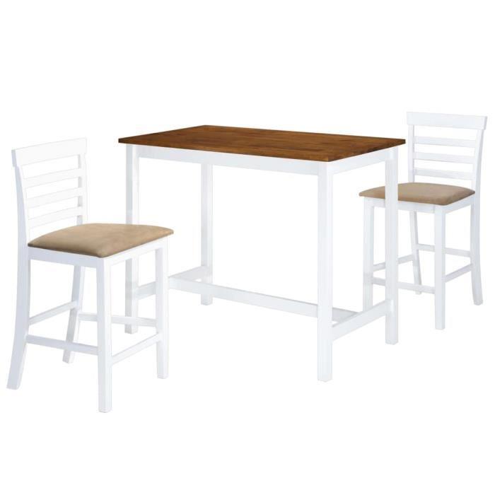 Cent Shopping Table et chaises de bar 3 pcs Bois massif Marron et blanc