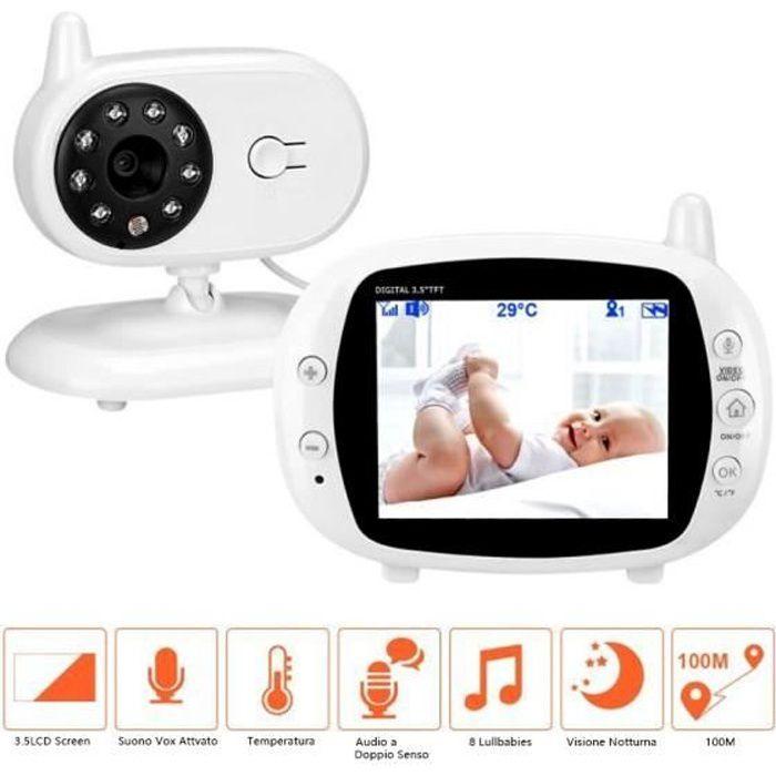 BabyPhone Vidéo Sans fil Multifonctions 3.5-LCD Couleur Vidéo Audio Bidirectionnel, Vision Nocturne,Surveillance de la Température
