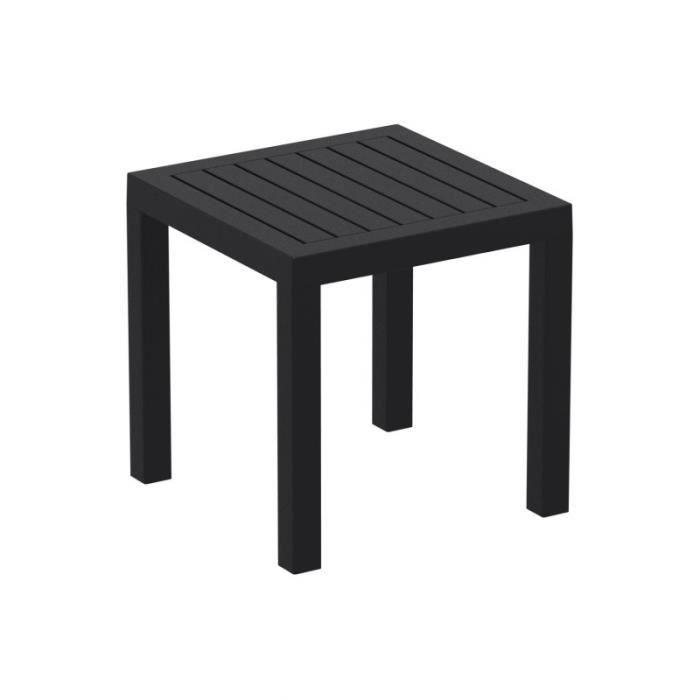Petite table de jardin en plastique noir résistante aux intempéries 45x45x45 cm MDJ10203