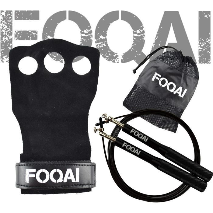 – Pack manique crossfit cuir souple + OFFERT : Corde à sauter 360° réglable pour homme,femme et enfant. Accessoires et gant de musc