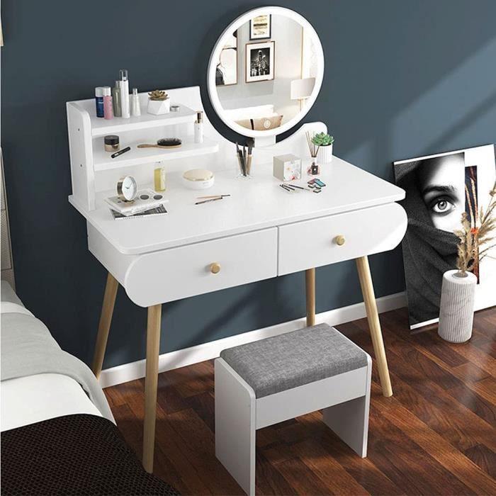 GOLDEN MANGO Mini Coiffeuse - Petit Appartement Coiffeuse Chambre Coiffeuse Armoire de Rangement avec Chaise et Meubles de Miroi70