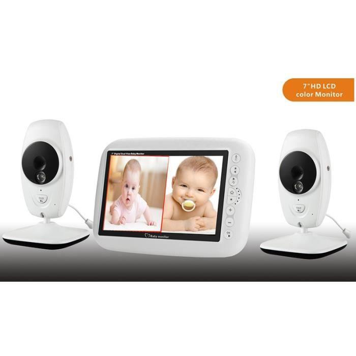 BABY PHONE - ECOUTE BEBE,7 - sans fil 720P HD bébé moniteur avec deux caméra numérique IR Vision nocturne interphone - Type EU Plug