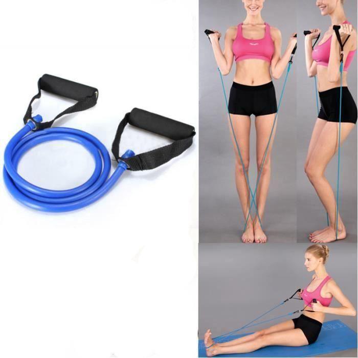 Élastique de résistance câble force fitness musculation 1.4M en latex de caoutchouc Bleu FR73915