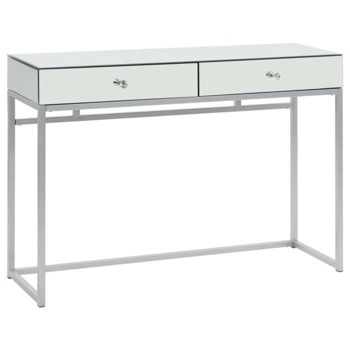 Console Style Contemporain - Table console Armoire console miroir Acier et verre 107 x 33 x 77 cm Nouveau *499449