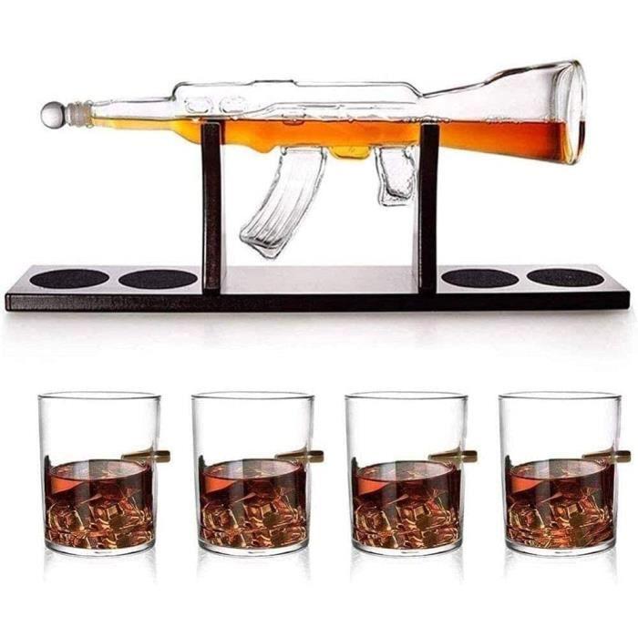 Lot de carafe à décanter en forme de fusil avec 4 verres à whisky et base en acajou 1000 ml 540