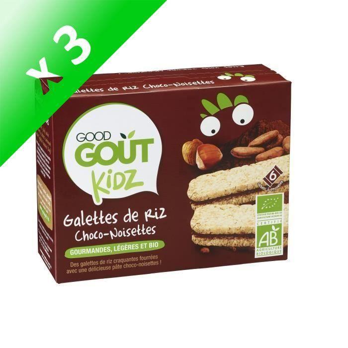 GOOD GOUT Galettes de Riz au Chocolat et noisette (Lot de 3x 120 g)