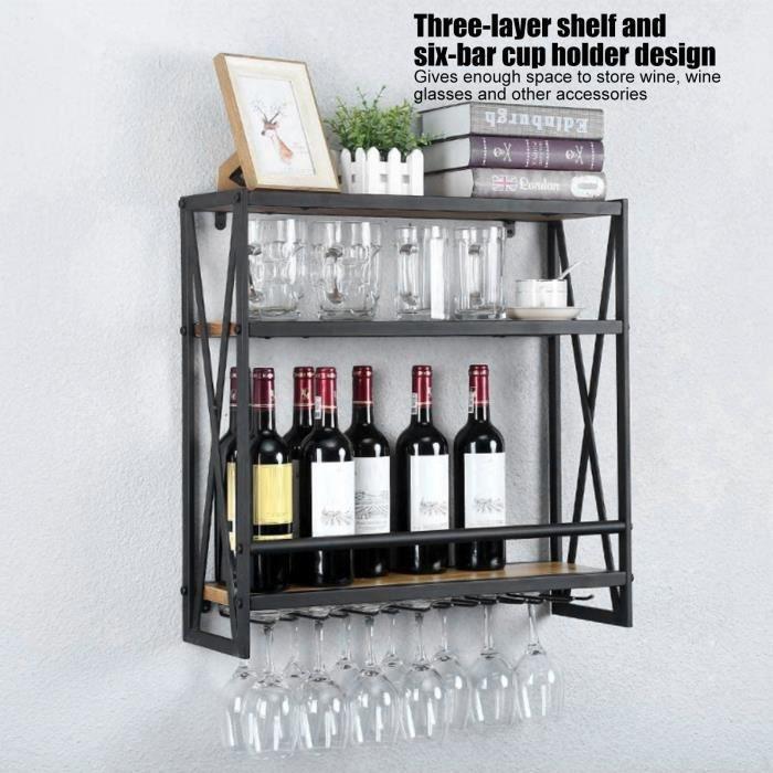 RAI Casier à Vin Mural en Bois Étagère Porte-bouteilles de Vin Porte-verre Support pour Bouteilles Support de Rangement Décoration