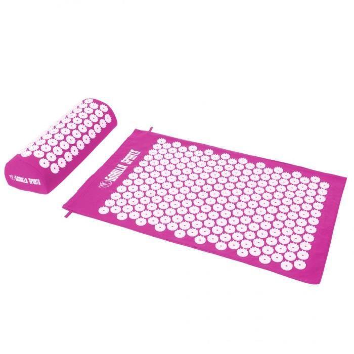 Tapis d'acupression avec coussin et sac de transport - tapis de fakir - tapis de massage - 68 x 42 x 2,5 cm - Couleur : rose