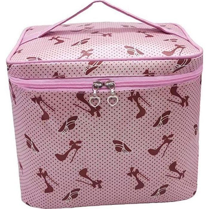 Grande capacité Imprimé Sac cosmétique Voyage Zipper poche de maquillage Pochette Beauty Case Sac de toilette Organisateur pour les