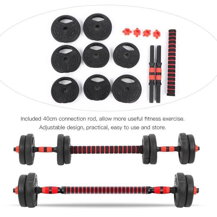 Ensemble d'Haltères et Barres d'Haltères Réglables, Haltères Musculation en Fonte avec Barre de 40 cm Haltère Musculation -PAT
