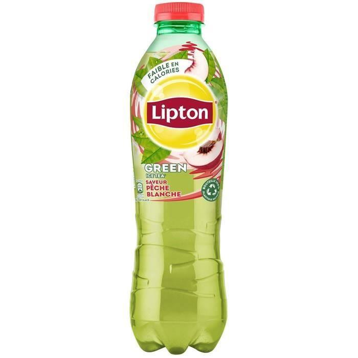 LOT DE 3 - LIPTON Green Ice Tea - Boisson aux extraits de thé arôme pêche blanche 1 L