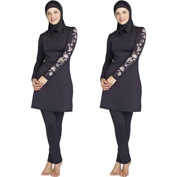 Musulmans maillots de bain conservateurs femmes maillots de bain modestes islamique bikini maillot natation maillot burkini Noir