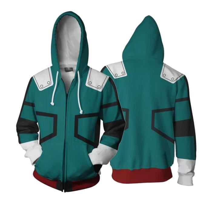 Homme Sweat Zippé My Hero Academia Fans Hoodies 3D Imprimé Capuche Sweat-shirt Pull Manche Longue