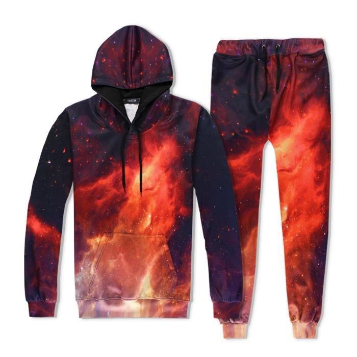 Hommes Univers 3D Imprimer Hooded Galaxy Hoodie Tops Pantalons Ensembles Survêtement Sport Suit SSY90919651RDM_yan
