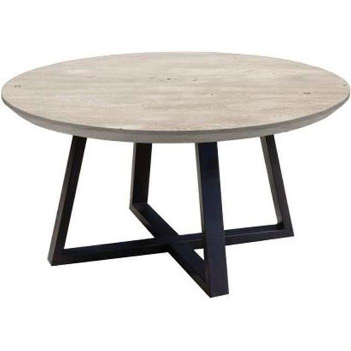 Table basse ronde en acacia massif gris - L.90 x H.45 x P.90 cm