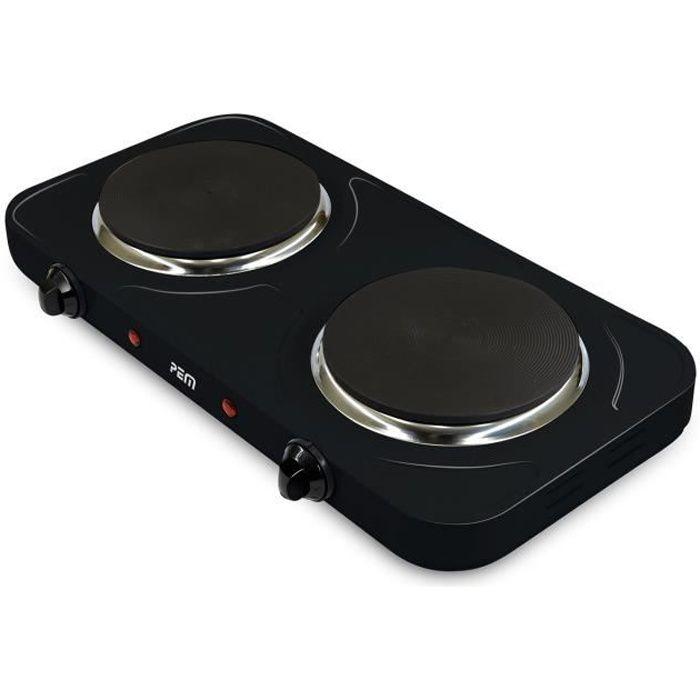Plaque de cuisson double 1000W + 1500W - Diamètre 155 + 185mm anti-adhésifs - Pem HP-212