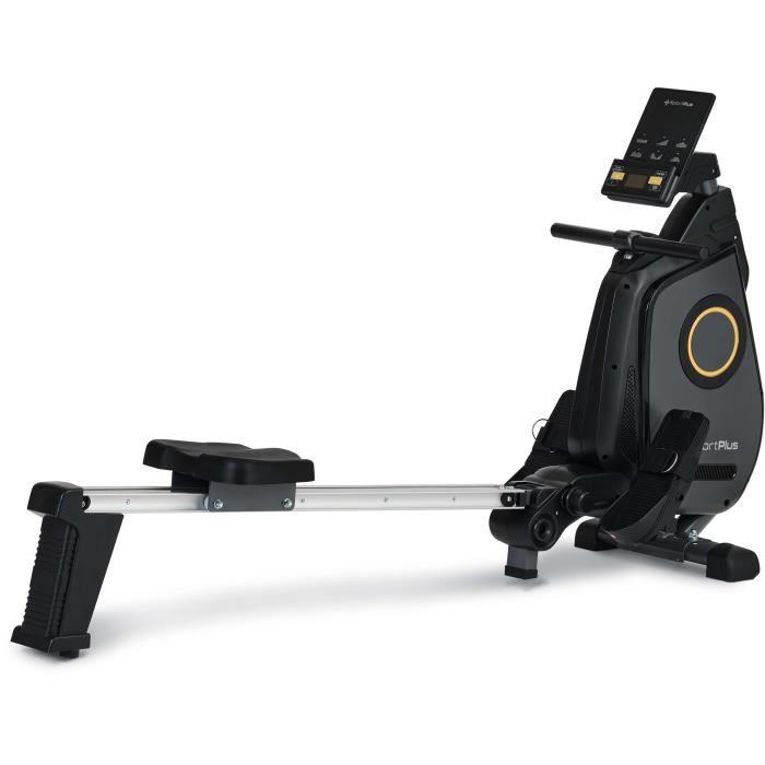 SportPlus - Rameur Pliable, Système de freinage magnétique, 24 niveaux de résistance réglés par ordinateur, Silencieux