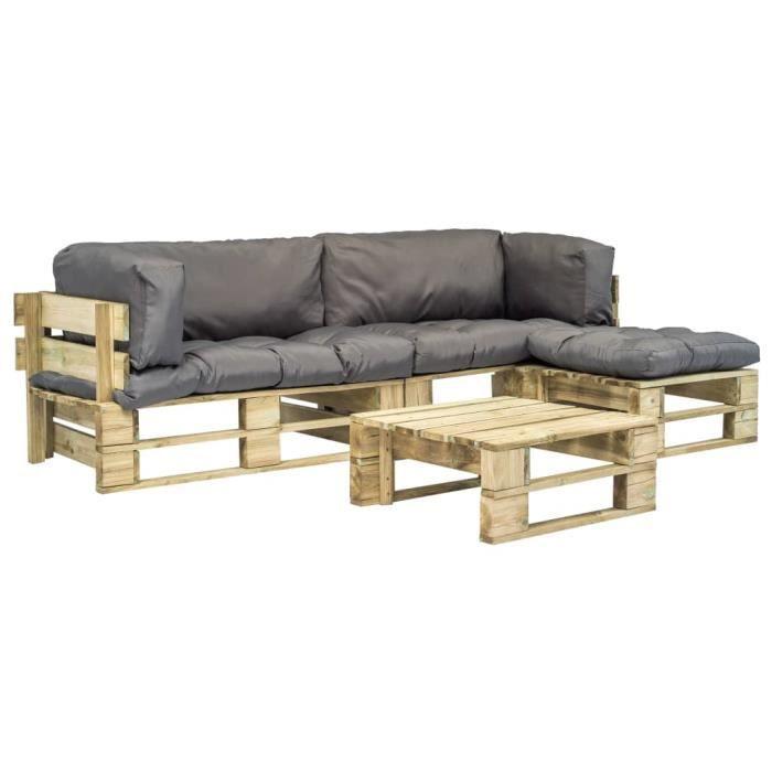 Ensemble de 4 canapés de jardin palette Coussins gris Bois FSC - Meubles/Meubles de jardin/Ensembles de meubles d'extérieur - Gris