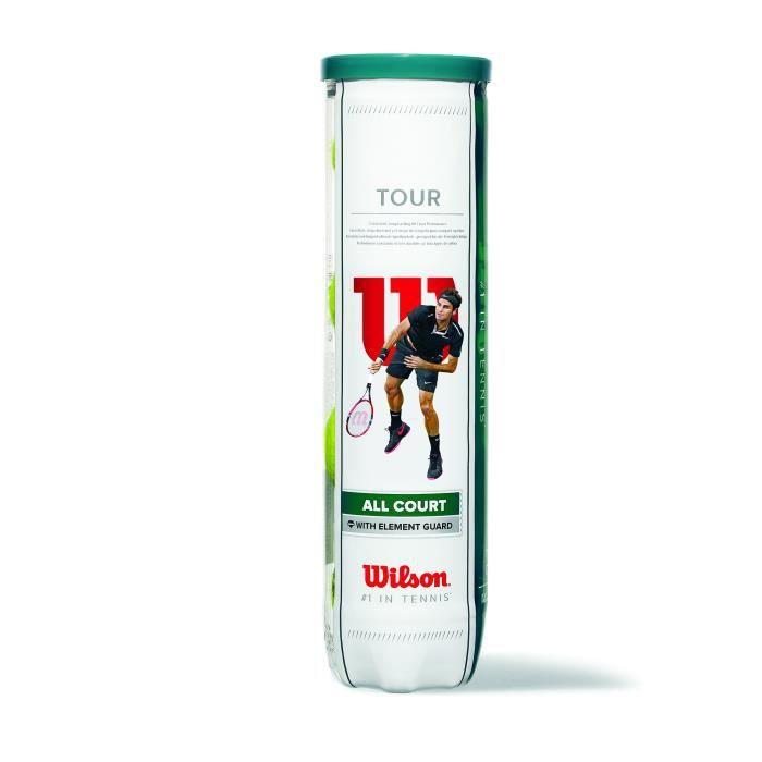 Wilson Balles de Tennis, Tour All Court, Lot de 4 balles, Toutes Surfaces, Jaune, WRT115700