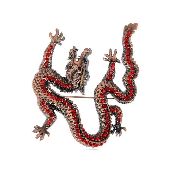 Merveilleux Ruby cristal rouge vintage Reproduct Dragon Animal Broche