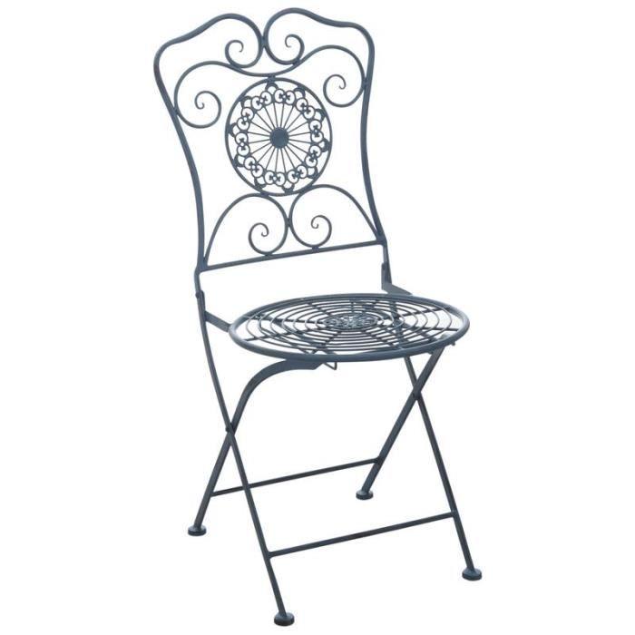 FAUTEUIL JARDIN  Lot de 2 chaises de jardin pliante en métal bleu a