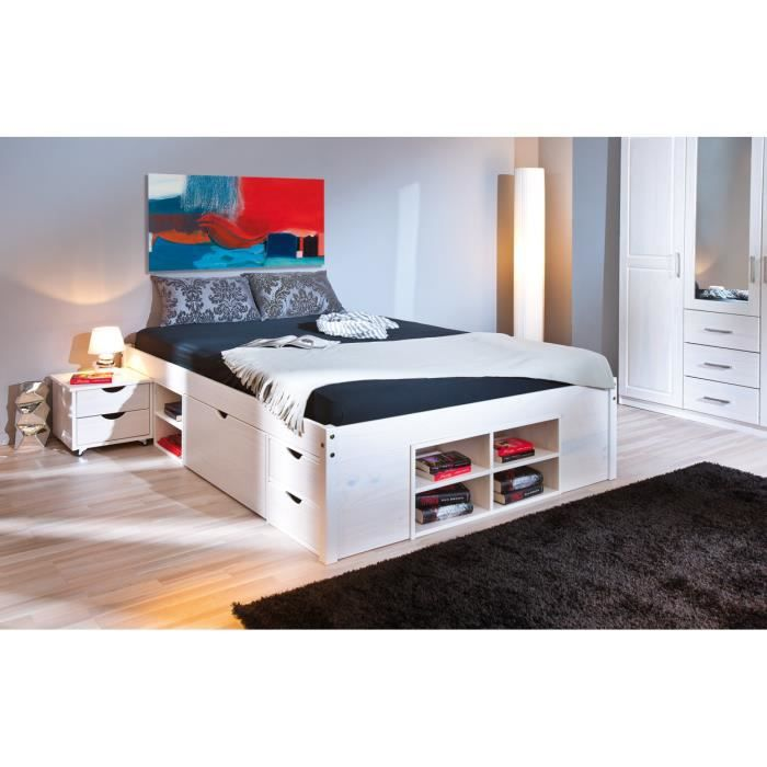 lit 140 avec rangement integre. Black Bedroom Furniture Sets. Home Design Ideas