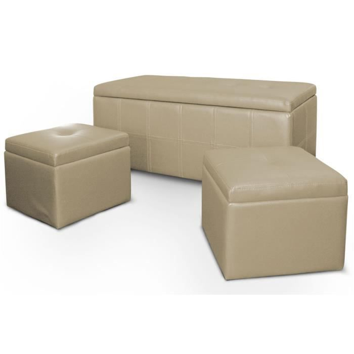 banquette coffre 2 poufs cuir beige banco achat vente banquette cuir pu polyur thane. Black Bedroom Furniture Sets. Home Design Ideas