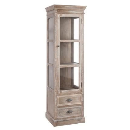 vitrine 1 porte 2 tiroirs bois blanchi 56x40x186cm achat vente vitrine argentier vitrine 1. Black Bedroom Furniture Sets. Home Design Ideas