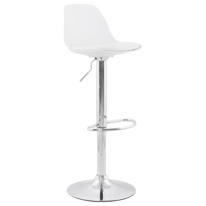 ho tabouret de bar blanc avec dossier cuir pu achat vente tabouret de bar blanc cdiscount. Black Bedroom Furniture Sets. Home Design Ideas