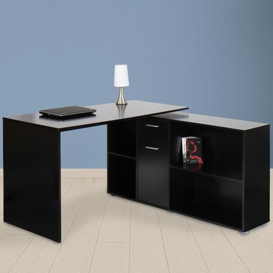 bureau angle noir achat vente bureau bureau angle noir cdiscount. Black Bedroom Furniture Sets. Home Design Ideas