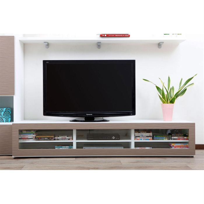 Meuble tv design lumineux blanc et taupe symbiosis achat for Photo meuble tv design