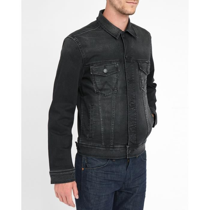 veste en jean noir d lav pour homme noir achat vente veste cdiscount. Black Bedroom Furniture Sets. Home Design Ideas