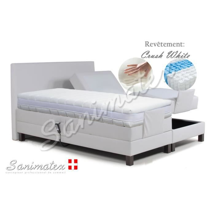 lit electrique boxspring 160x200 vesuvio amazonia white boxspring elec avec matelas ressorts. Black Bedroom Furniture Sets. Home Design Ideas