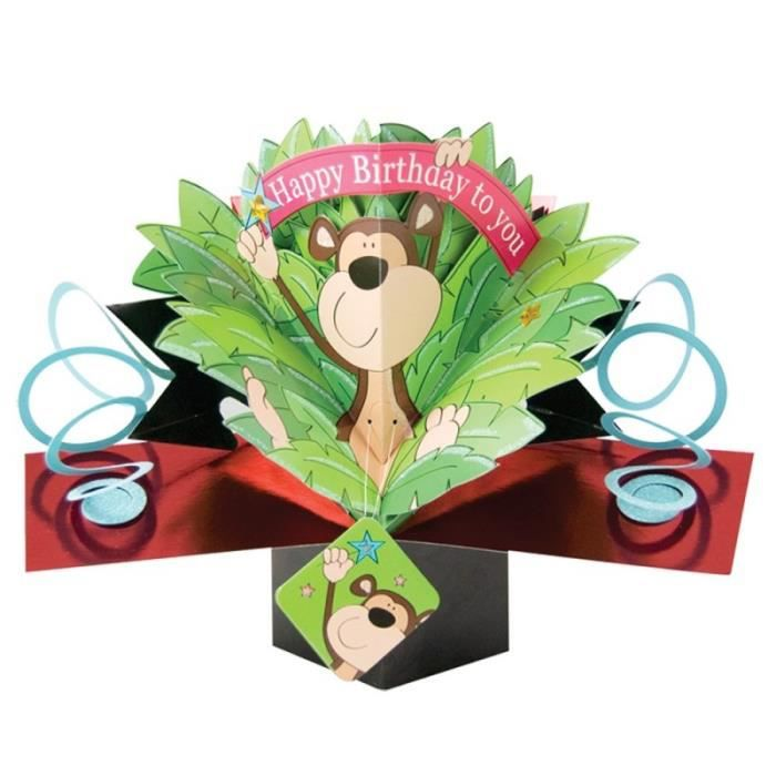 Carte Chaimpanze Anniversaire 3d Second Nature Pop Ups Achat
