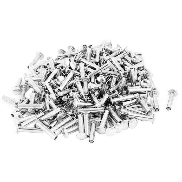 200 Pcs M4 x 18mm tête ovale Nickelé Rivets Argenté semi-tubulaire