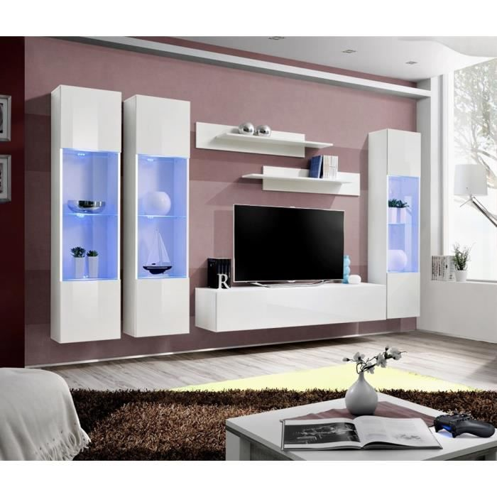 Meuble tv fly c3 blanc blanc laqu achat vente meuble for Fly meuble tv