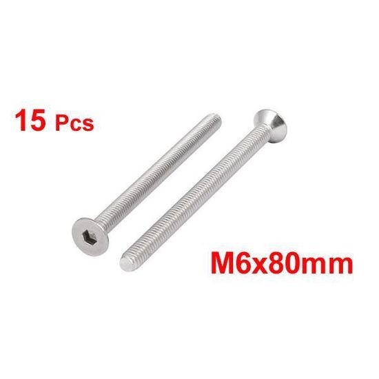 sourcing map M6x60mm vis t/ête plate /à six pans creux en acier inoxydable 304 DIN7991 15pcs