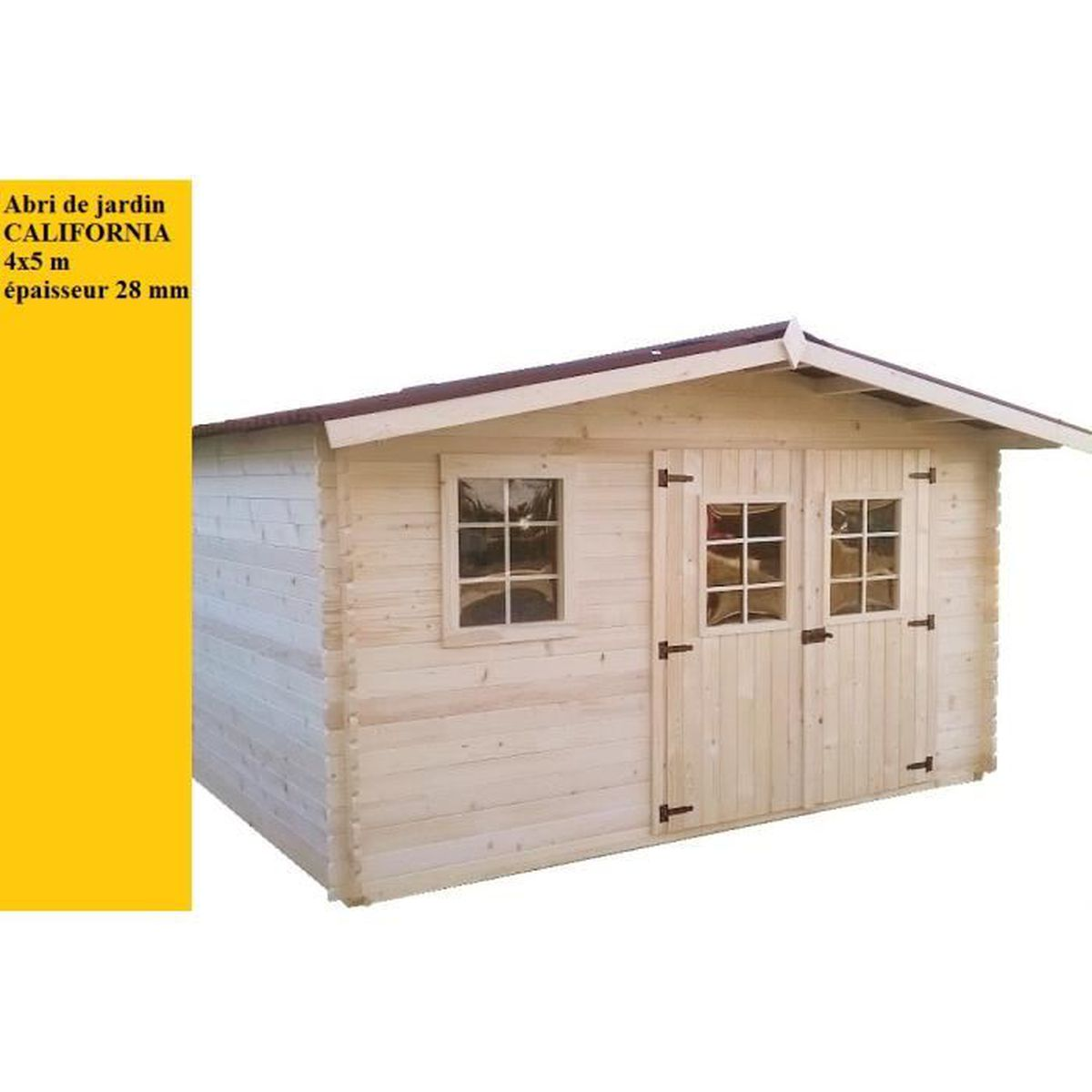 Grande Cabane De Jardin Pas Cher abri de jardin bois 4x5m 20m2 california - achat / vente
