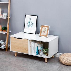 TABLE BASSE Table de Chevet: Table basse - blanc et chêne - 90