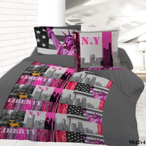 housse de couette new york 2 personnes achat vente. Black Bedroom Furniture Sets. Home Design Ideas