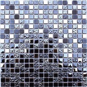 CARRELAGE - PAREMENT Mosaïque en pate de verre - 30 x 30 cm - Noir