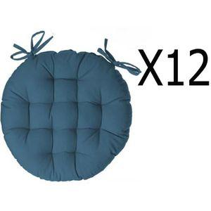 COUSSIN DE CHAISE  Lot de 12 galettes de chaise ronde en coton colori