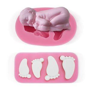 MOULE  2x moule silicone bébé endormi pieds empreintes pâ