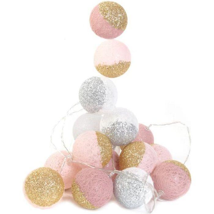 Veilleuses & lampes d'ambiance - Guirlande LED 3m boules 6 cm bicolores - Rose et blanc à paillettes